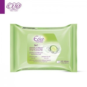 EVA CLEANSING AND MAKE-UP REMOVING FACIAL WIPES WITH YOGHURT AND CUCUMBER FOR OILY/ COMBINATION SKIN 25 WIPES
