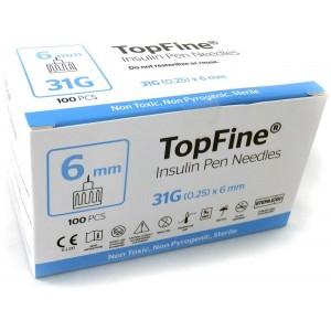 TOPFINE INSULIN PEN NEEDLES 6MM 100 PCS