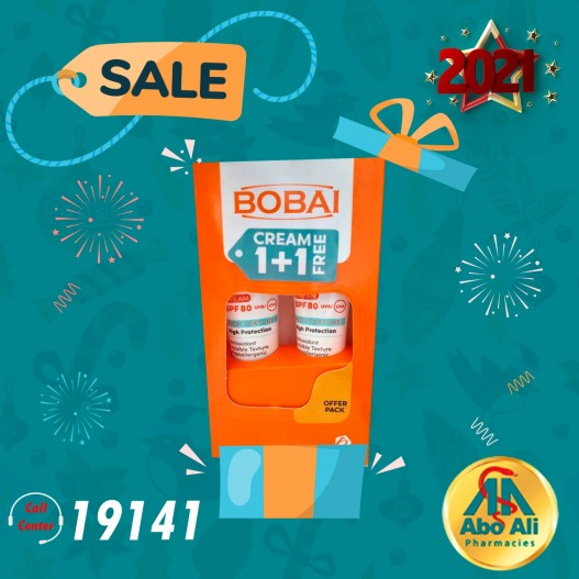 BOBAI SUN BLOK CREAM SPF 80 50GM 1+1 FREE