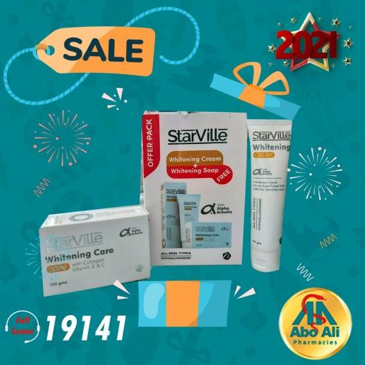 STARVILLE WHITENING CREAM 60GM + SOAP FREE